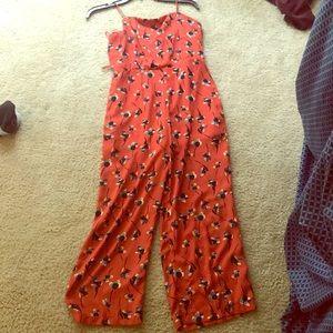 Orange floral jumpsuit